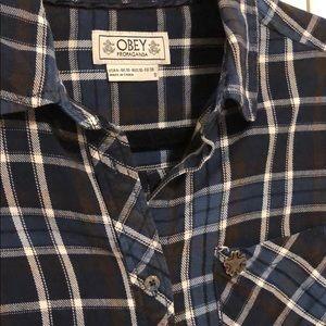 Obey Blue Plaid Shirt